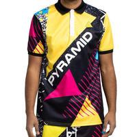 日本未入荷 BLACK PYRAMID ブラックピラミッド BP Geometric Polo 半袖 ポロシャツ 黄色 イエロー