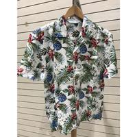 【特別SALE価格】アロハシャツ ALOHA 半袖 オープンカラー 開襟 レーヨン100% 白 パイナップル フラワープリント ハワイアンシャツ R3