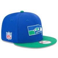 USA正規品 NFL ニューエラ NEWERA 旧ロゴ Seahawks シアトル シーホークス 青 スナップバック 9Fifty アメフト 調節可 キャップ Baycik 2トーン