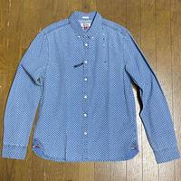 USAモデル TOMMY HILFIGER トミーヒルフィガー 総柄 ESSENTIAL ダンガリー ボタンシャツ フラッグロゴ スリムフィット