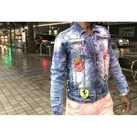 USAブランド Kloud9 クラウドナイン ライダース デニムジャケット Gジャン ジージャン パッチ付 ワッペン 伸縮性あり クリスタルブルー
