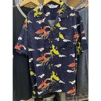 【特別SALE価格】ROBINSON アロハシャツ ALOHA 半袖 オープンカラー 開襟 レーヨン100% ネイビー 紺 フェニックス 鳳凰 ハワイアンシャツ 和柄 R08