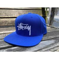 USA正規品 ステューシー Stussy スナップバックキャップ 帽子 ブルー 青 Basic ベーシックロゴ ショーンフォント サイズ調節可能