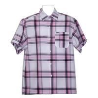 アメリカ製 CALTOP キャルトップ ピンク×白 チェックシャツ 半袖 ボタンアップ