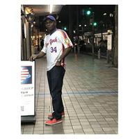 NEGRO LEAGUE 『 NY ニューヨーク リンカーン ジャイアンツ 』 公式 ベースボールシャツ 野球 ユニフォーム Vネック No34 白 オレンジ 青 ピンストライプ