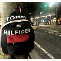 USA正規品 トミーヒルフィガー TOMMY HILFIGER バックパック 黒 ブラック BIGロゴ FLAG フラッグ