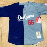 NEGRO LEAGUE 『 ニューアーク Dodgers ドジャース 』 公式 ベースボールシャツ 野球 ユニフォーム 前開き ナンバリング 66 青 グレー