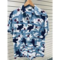 【特別SALE価格】アロハシャツ ALOHA 半袖 オープンカラー 開襟 レーヨン100% 白 青系 ハワイアン 和柄 鯉 CARP 新品 RB-19