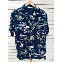 【特別SALE価格】アロハシャツ ALOHA 半袖 オープンカラー 開襟 レーヨン100% ネイビー 紺 フラミンゴ 総柄 ハワイアンシャツ 新品 RB-28