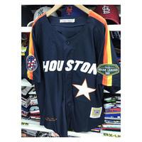 NEGRO LEAGUE『ヒューストン ブラックイーグルス』 公式 ベースボールシャツ ユニフォーム ナンバリング1 野球 紺 オレンジ