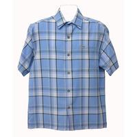 アメリカ製 CALTOP キャルトップ スカイブルー 水色 チェックシャツ 半袖 ボタンアップ