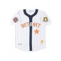 NEGRO LEAGUE 『デトロイト Stars スターズ 』 公式 ベースボールシャツ 野球 ユニフォーム 前開き No23 白 紺 オレンジ ピンストライプ