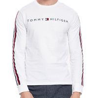 海外限定デザイン TOMMY HILFIGER トミーヒルフィガー  長袖 Tシャツ ロンT 白 ロゴ テープ袖 ロングスリーブ USA正規品