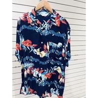 【特別SALE価格】 アロハシャツ ALOHA 半袖 オープンカラー 開襟 レーヨン100% 紺 ハイビスカス フラワープリント ハワイアン 新品 RB-04