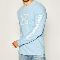 USA正規品 HUF ハフ DOMESTICロゴ ドメスティックロゴ 長袖 Tシャツ ロンT GleekBlue ブルー 綿100% ストリート スケーター