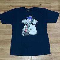 【L】 Stussy ステューシー Droppin Science 半袖 Tシャツ 西海岸 ストリート 紺 ネイビー (54)
