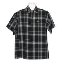 アメリカ製 CALTOP キャルトップ 黒 チェックシャツ 半袖 ボタンアップ