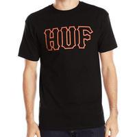 HUF ハフ Classic Logo クラシックロゴ 半袖  Tシャツ 黒 オレンジ USA正規