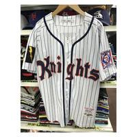 NEGRO LEAGUE 『NY ニューヨーク ナイツ』 ベースボールシャツ 野球 ユニフォーム ナンバリング 9 白 紺 オレンジ ストライプ