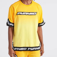 日本未入荷 BLACK PYRAMID ブラックピラミッド DIP DYE タイダイ 半袖 スウェットトレーナー Tシャツ 黄色 グラデーション