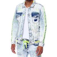 スモークライズ SmokeRise 蛍光 デニムジャケット Gジャン Neon イエロー ペイント 色落ち クラッシュ USA正規品 ストレッチ