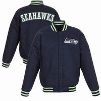 JHデザイン Seattle シアトル Seahawks シーホークス 紺 バーシティ スタジアムジャケット スタジャン 中綿 キルティング NFL アメフト