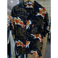 【特別SALE価格】アロハシャツ ALOHA 半袖 オープンカラー 開襟 レーヨン100% 黒 ブラック 和柄 きんぎょ 金魚 ハワイアンシャツ RB-18