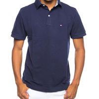 USA正規品 Tommy トミーヒルフィガー CUSTOM FIT カスタムフィット ワンポイント フラッグ POLOシャツ ポロシャツ 綿100% 紺 ネイビー