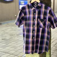 LRG エルアールジー USA正規品 チェック柄 パープル 紫 Purple 半袖 ボタンシャツ 綿100%