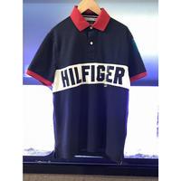 トミーヒルフィガー TommyHilfiger 半袖 ポロシャツ Polo 紺 ネイビー パッチ メッシュ UVカット 吸水速乾 アメリカ NY トラディショナル