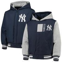 MLB公認  JH design JHデザイン NY ヤンキース Yankees フード付き リバーシブル スタジアムジャケット 紺 スタジャン