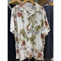 【特別SALE価格】ROBINSON アロハシャツ ALOHA 半袖 オープンカラー 開襟 レーヨン100% 白 ホワイト 花柄 ハワイアンシャツ フラワープリント R03