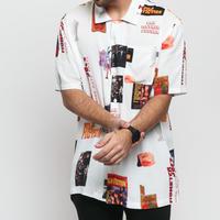 限定コラボ HUF ハフ 半袖 ボタンシャツ 総柄 パルプフィクション PULPFICTION カプセルコレクション 白 ストリート USA正規品 スケーター