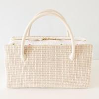 利休バッグ  R_1002  / natural × white cotton embroidery
