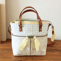 B226_2 pocket shoulder tote / white green × yellow lace