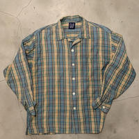 "GAP ""open collar check L/S shirts"" / size M(fit like)"