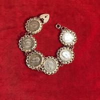 English vintage coin bracelet #TB004
