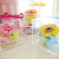 """《名入れギフト☆メッセージ刻印》選べる3color! message ROSE """"gerbera bouquet"""" 一輪のガーベラのフラワーボックス"""