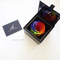 """DIAMOND ROSE  """"my RAINBOW"""" ☆虹色を隠したフラワーボックス☆レインボーローズ×天然ダイヤモンド"""