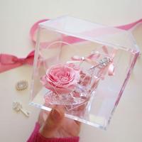 """《名入れギフト☆メッセージ刻印》message ROSE """"PINK KEY"""" 小さなシンデレラのガラスの靴"""