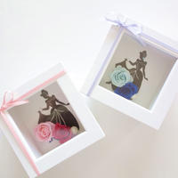 "LUXURY BOX ""milky dress""  ♡切り絵×プリザーブドフラワー♡お花ドレスのシンデレラ"