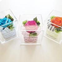 """《名入れギフト☆メッセージ刻印》選べる3color! message ROSE """"Rose Cake"""" 一輪のバラのフラワーボックス"""