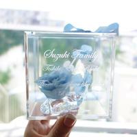 """《名入れギフト☆メッセージ刻印》message ROSE """"sky blue"""" 小さなシンデレラのガラスの靴"""