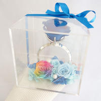 """《名入れギフト☆メッセージ刻印》message ROSE """"Happy flower Ring"""" ☆大きいサイズ☆ブルーローズの指輪アレンジ"""