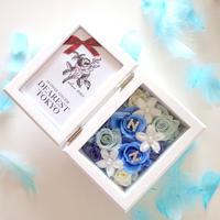 "MEMORIES  ""happy wedding(BLUE)""  新郎新婦(カップル)のイニシャル入りフォトフレーム"