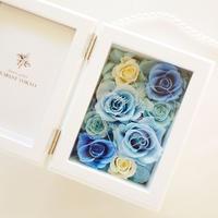 """《名入れギフト☆メッセージ刻印》MEMORIES """"Rose Blue"""" ブルーで仕上げる可愛いフォトフレーム"""