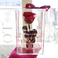 """《名入れギフト☆メッセージ刻印》message ROSE  """"une bague""""(RED) ♡美女と野獣♡一本のバラに輝くビジューを添えて"""