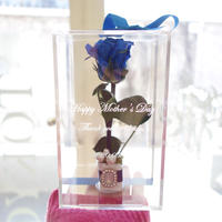 """《名入れギフト☆メッセージ刻印》message ROSE  """"une bague""""(BLUE) ♡美女と野獣♡一本のバラに輝くビジューを添えて"""