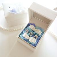"LUXURY BOX ""le mariage""(BLUE)新郎新婦のイニシャル入りリングピロー♡"