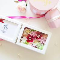 """MEMORIES """"happy wedding(mix)"""" ティアラ付 新郎新婦(カップル)のイニシャル入りフォトフレーム"""